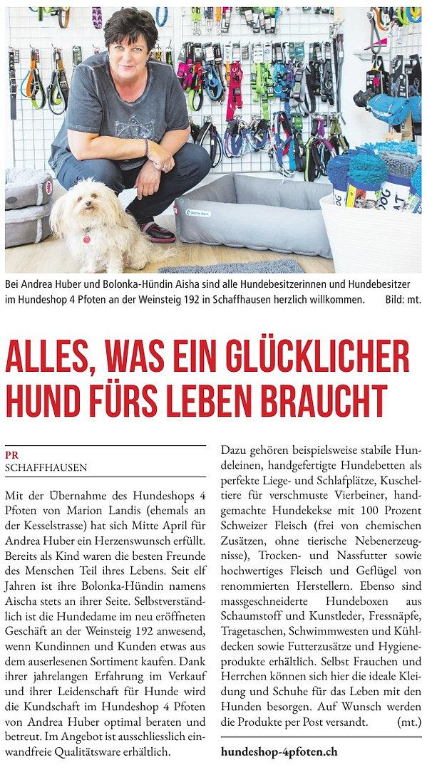 Zeitungsartikel über unseren Hundeshoppg