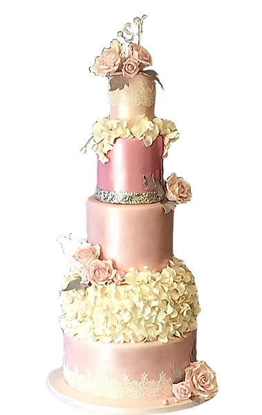 Wedding cake with Pink Shades and flowers