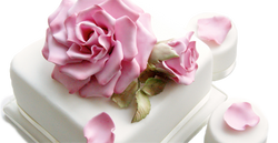 Square Floral-Themed Wedding Cake