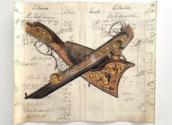 Engraved Flintlock Rifle Print