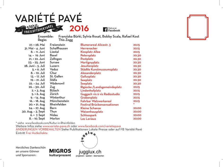 Tourneeplan 2016