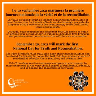 National Day for Truth and Reconciliation / Journée nationale de la vérité et de la réconciliation