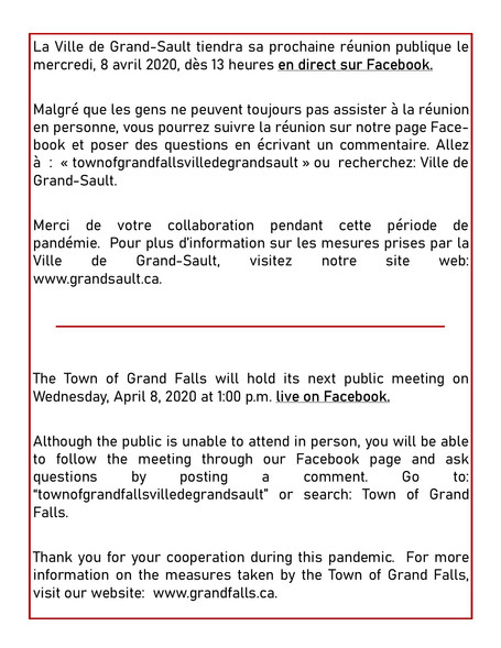 Réunion publique / Public Meeting