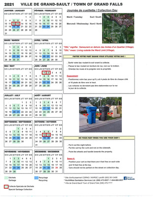 Calendrier déchets/recyclage - Garbage & Recycling calendar