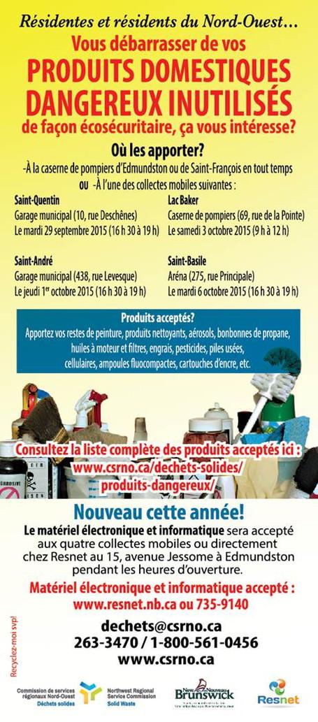 Collection de produits domestiques dangereux inutilisés / Household Hazardous Waste Collection