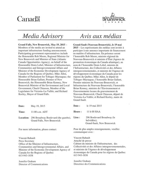 Media Advisory / Avis aux médias