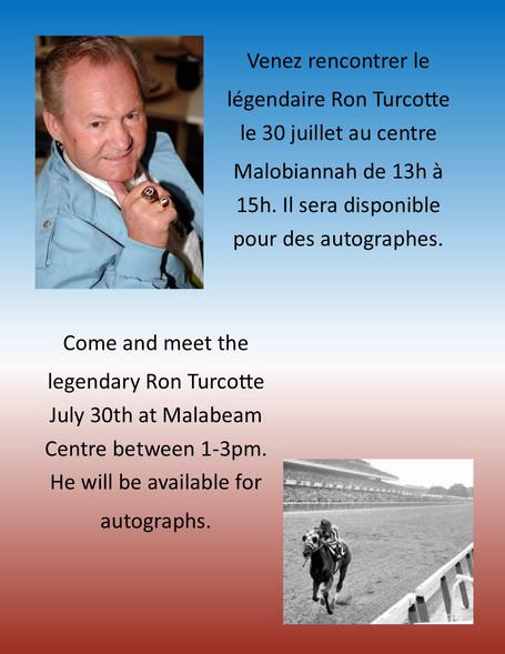 Ron Turcotte au centre Malobiannah / Ron Turcotte at Malabeam Centre