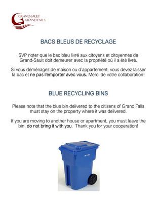 Bacs bleus de recyclage / Blue Recycling Bins