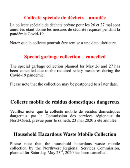 Collectes annulées - Collections cancelled