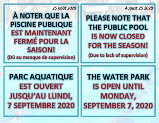 Fermeture pour la saison / Closing for the season