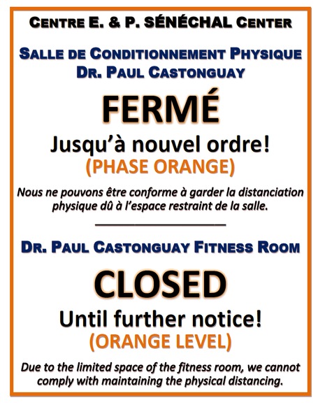 Restrictions de phase orange au CEPS / Orange phase restrictions at E&P Sénéchal Center