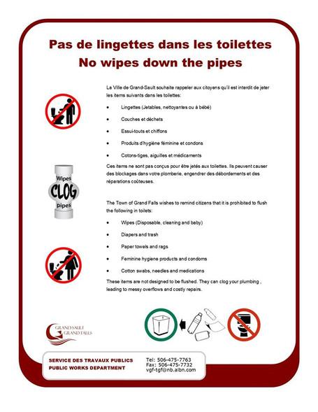 Pas de lingettes dans les toilettes SVP - No wipes down the pipes please