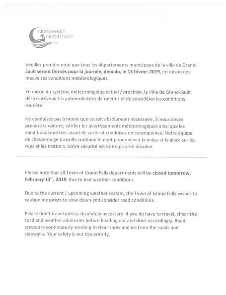 Fermeture de bureau / Office closure