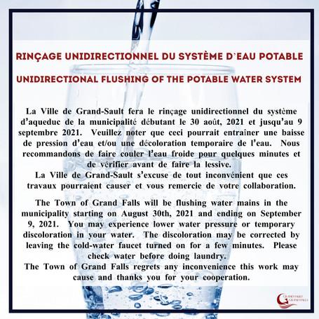 Rinçage unidirectionnel du système d'eau potable-Undirectional flushing of the potable water system