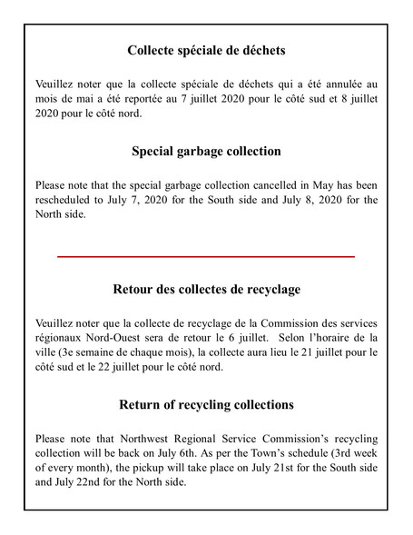 Retour des collectes /  Return of collections