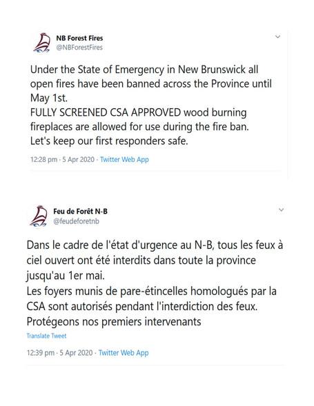 Avis Feu de Forêt N-B / NB Forest Fires Notice