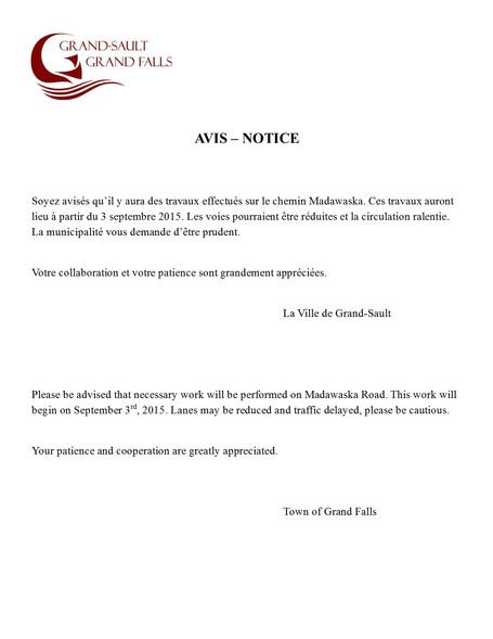 Avis - Notice
