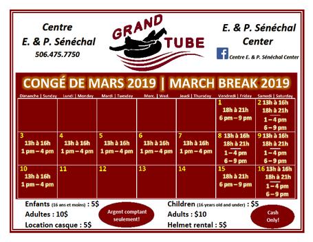 Horraire Grand Tube Schedule - Congé de mars / March Break