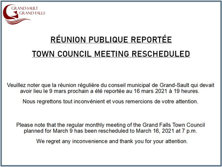 Réunion publique reportée / Town Council Meeting Rescheduled