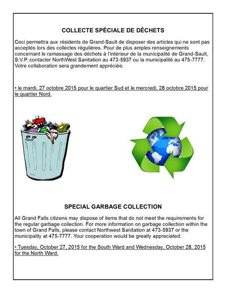 Collecte spéciale de déchets / Special Garbage Collection