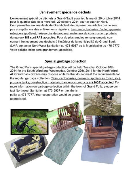 L'enlèvement spécial de déchets / Special garbage collection