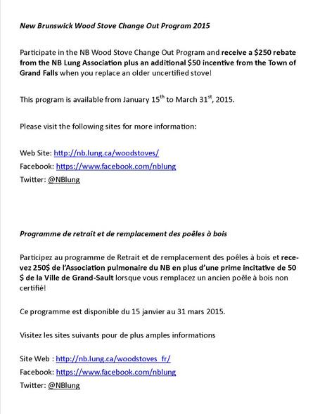 NB Wood Stove Change Out Program 2015 / Programme de retrait et de remplacement des poêles à bois