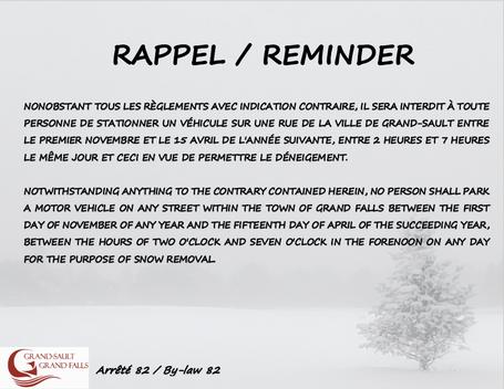 Rappel / Reminder