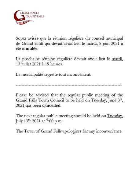 Réunion annulée / Meeting cancelled