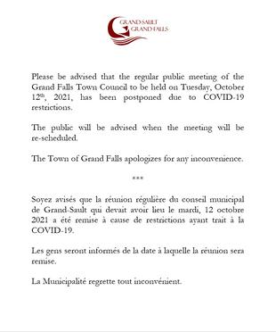 Réunion remise / Meeting postponed