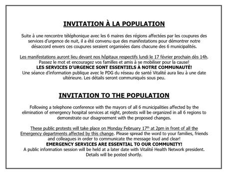 Invitation à la population / Invitation to the population