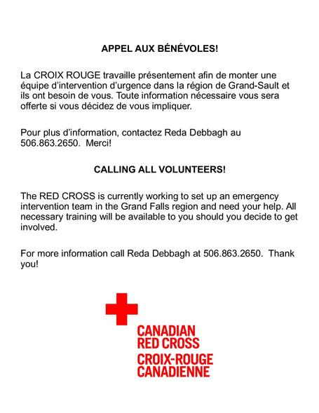Appel aux bénévoles / Calling all volunteers