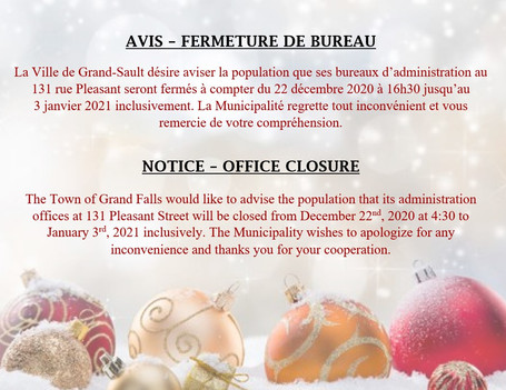 Fermeture de bureau / Office closure
