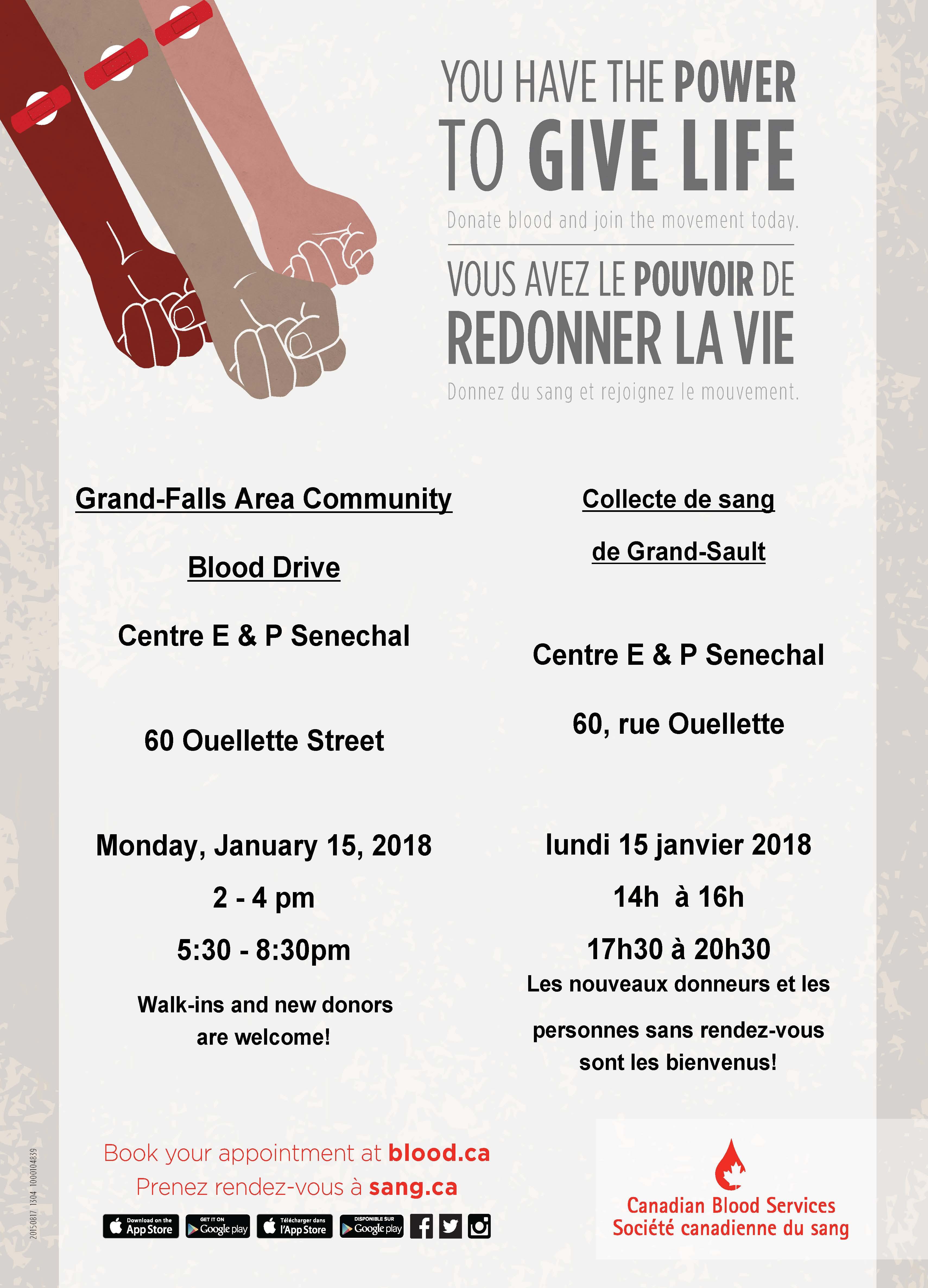 Collecte de sang / Blood Drive | Ville de Grand-Sault / Town