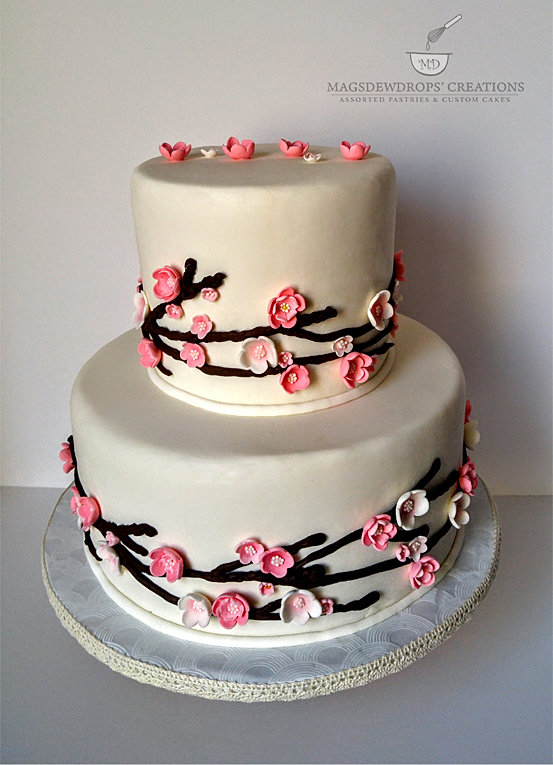 japanese cherry blossom wedding cake magsdewdrops creations stouffville markham custom 16585