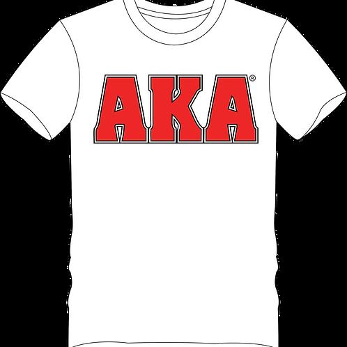 Men's AKA Classic White T-shirt w Red Logo