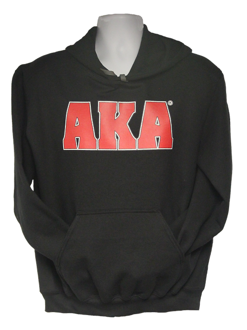 Unisex ADULT & YOUTH AKA Classic Black Hoodie w Red Logo
