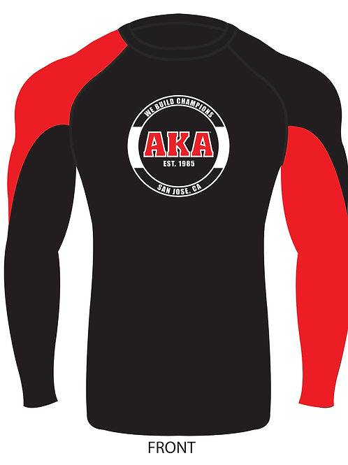 ADULT & YOUTH AKA Black Rashguard w Red Sleeve