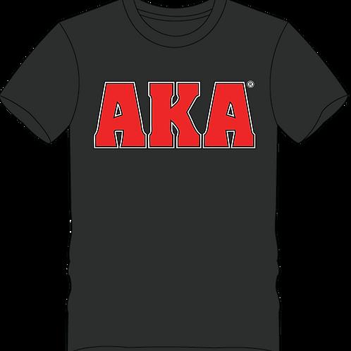 Men's AKA Classic Black T-shirt w Red Logo