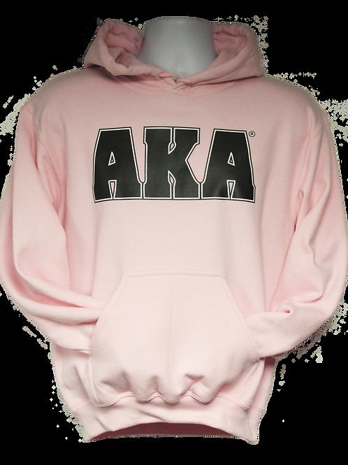 Unisex ADULT & YOUTH AKA Classic Light Pink Hoodie w Black Logo