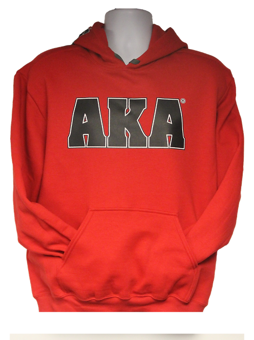 Unisex ADULT & YOUTH AKA Classic Red Hoodie w Black Logo
