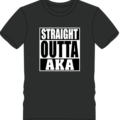 "Men's ""Straight OUTTA AKA"" Black T-shirt"