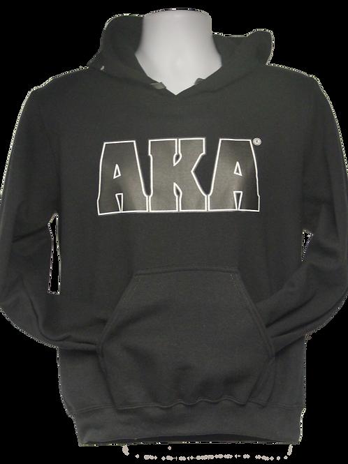 Unisex AKA ADULT & YOUTH Classic Black Hoodie w Black Logo