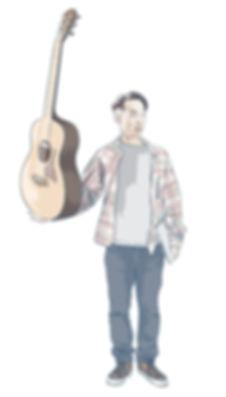 fuzzzy holding guitar