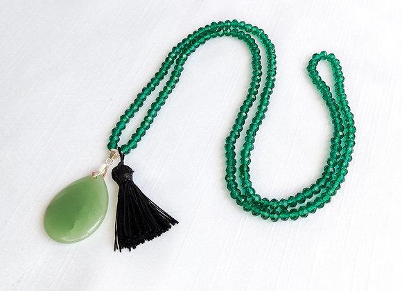 Colar cristal , tassel e gota agata verde