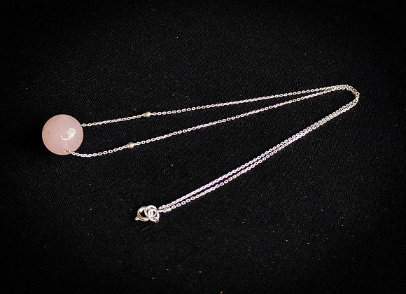 Corrente prata bola quartzo rosa