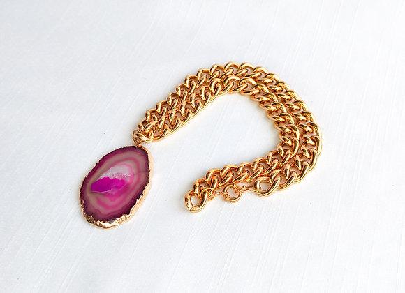 Chocker corrente dourado Chapa agata rosa