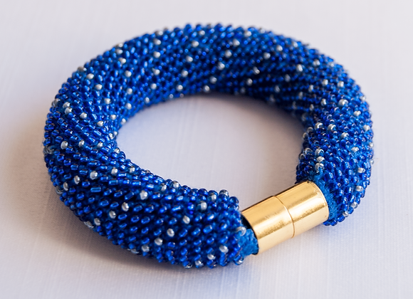 Bracelete Jbead miçanga thecas azul e prata 1/5