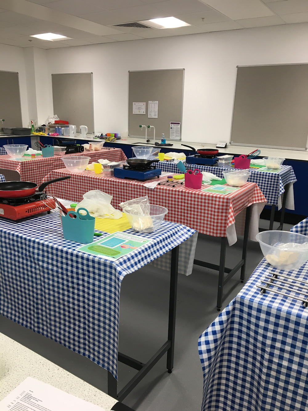 Our cookery class all set up ready to go
