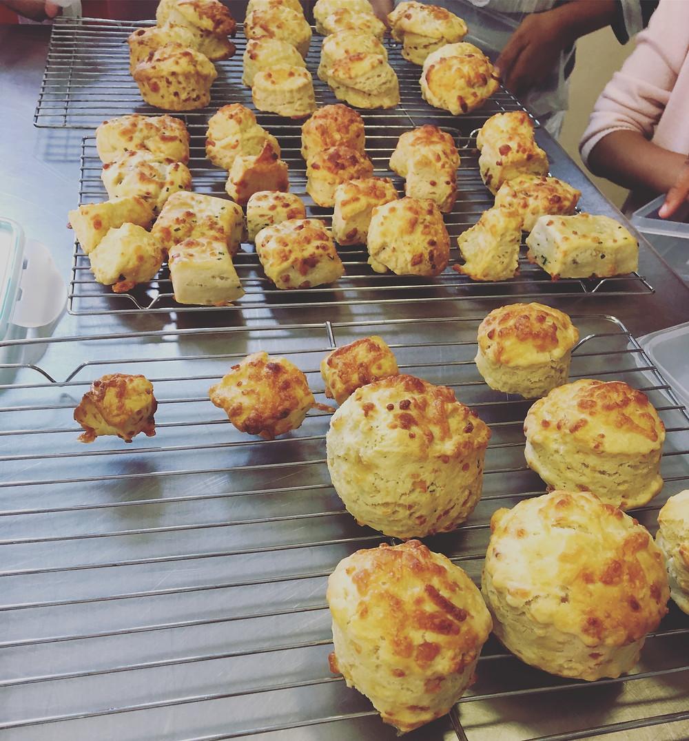 children baking cheese scones