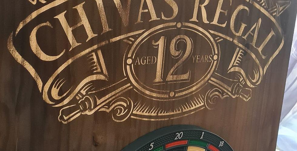Stand de fléchette effet vieilli gravé Chivas Regal